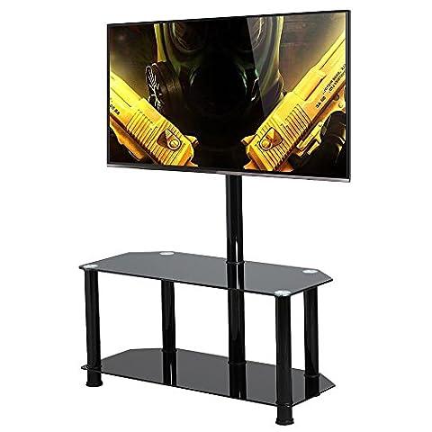 Topeakmart Large Swivel TV Stand Mount 2 Tier Black Glass Shelf for 60 Inch Flat Screens TV
