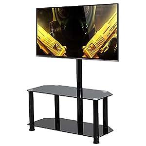 topeakmart large swivel tv stand with mount 2 tier black glass shelf for 60 inch. Black Bedroom Furniture Sets. Home Design Ideas
