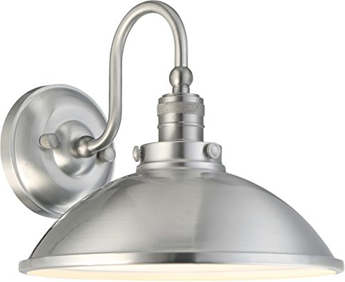 Lantern Outdoor Aluminum Brushed - Minka Lavery Urban Industrial Outdoor Wall Light 71169-A144-L Baytree Lane Exterior Wall Lantern, 1-Light LED 14 Watts, Brushed Aluminum