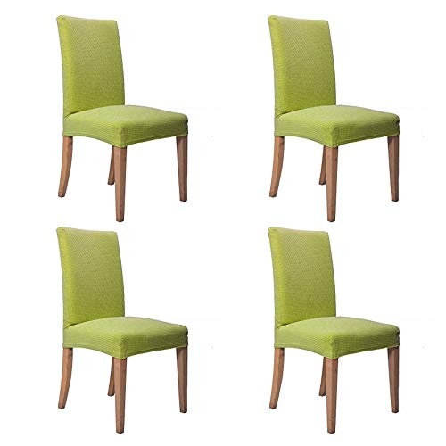 Lihailewo Dining Chair Covers, Stretch Polyester Spandex High Chair Cover Removable Washable Slipcover Garden Living Room Dining Chair Seat Covers for Dining Chairs 2/4/6 PCS (4PCS, - Casual Slipcover Chair Dining