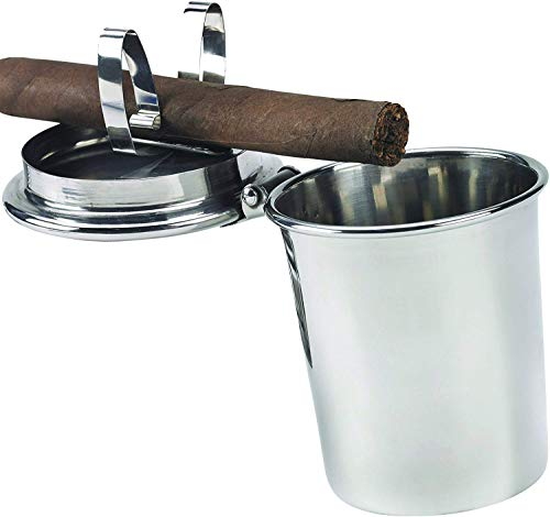 Stinky Cigar Ashtrays Car Ashtray, Spring Clip to Hold All Cigar Sizes Stainless Steel