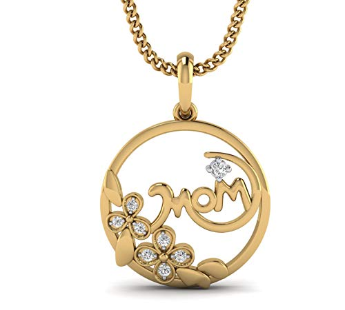 (Fehu Jewel Natural Diamond Pendant Necklace in 14k White Rose and Yellow Gold Mother's Day Gift (.11 CT, H-I Color, I1-I2 Clarity))