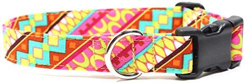 Ruff Roxy Island Square Designer Cotton Dog Collar, Adjustable Handmade Fabric Collars (S)
