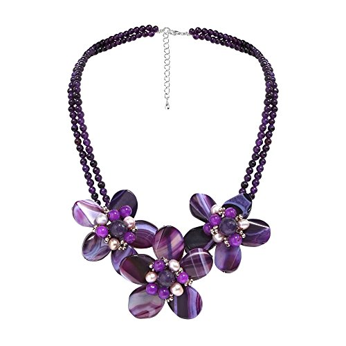 Agate Sterling Silver Flower (AeraVida Cultured Freshwater Pearl Center Triple Reconstructed Purple Agate Flower .925 Sterling Silver Necklace)