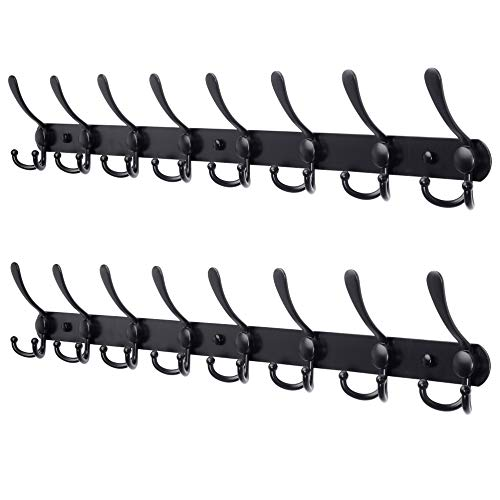 Dseap Coat Rack Wall Mounted - 8 Tri Hooks, Heavy Duty, Stainless Steel, Metal Coat Hook Rail for Coat Hat Towel Purse Robes Mudroom Bathroom Entryway (Black, 2 Packs)