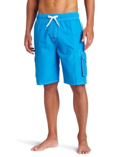 Kanu Surf Men's Barracuda Swim Trunks (Regular & Extended Sizes), Lake Blue, Large (Couple Swim Suit)