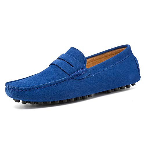 (Go Tour Men's Penny Loafers Moccasin Driving Shoes Slip On Flats Boat Shoes Sapphire Blue 14/50)