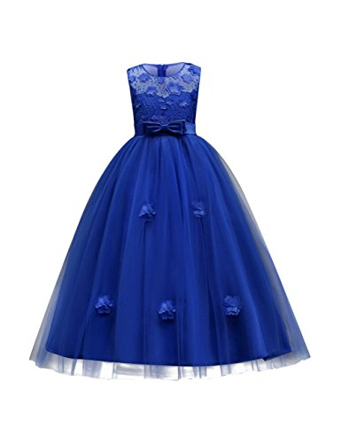 aibeiboutique Flower Girl Dresses Pageant Princess Bridesmaid Dress for Wedding First Communion (9-10 Years, Royal Blue)