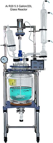 Ai 20L Dual Jacketed Glass Reactors w/ All PTFE Valves 110V 60Hz 90 Watts