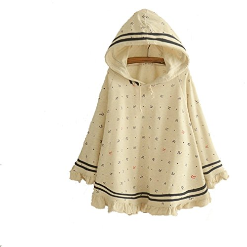 JINSEY Women's Cute Button Down Tweed Cat Ears Hooded Cape (Beige)