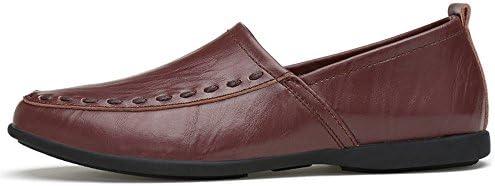 You Are Fashion メンズ本革モカシンスエードインソールファッションスリップオンカジュアルメンズローファー高品質金属装飾アップリケ本物の本革の靴男フラットシューズ (Color : Dark Brown Breathable Style, サイズ : 23.5 CM)