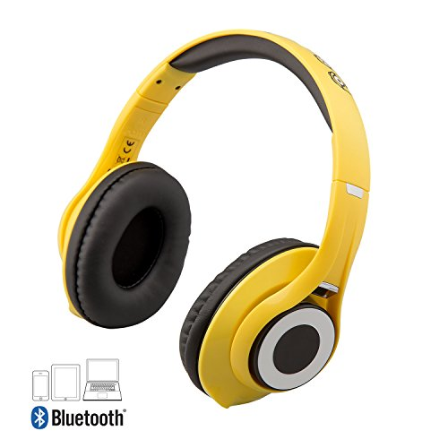 Despicable Me Minions Wireless Bluetooth Headphones with Microphone Voice Activation and Bonus Aux Cable