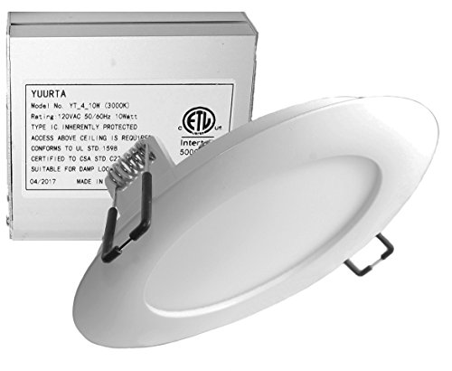 YUURTA 4-Inch 10W 120V Recessed Ceiling LED Light Dimmable Retrofit Ultra-Thin Downlight with Remote Driver in Junction Box Round Slim Panel ETL Listed IC Rated (3000K, 1-pack) (Costs Remodeling Patio)