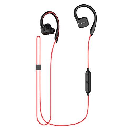 JESBOD QY13 Bluetooth Kopfhörer 4,1 Magnetische Wireless Stereo Sport Headset Ohrhörer Schweißfänger In-Ear Earbuds mit Mikrofon / Apt-X für iOS und Android Handys iPad Laptops Tablets (Schwarz und Rot)