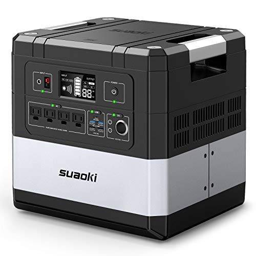 SUAOKI G1000 Portable Power Station 1182Wh Large-Capacity Lithium Battery Generator 1000W AC, 12V DC, 12V Car, and USB/60W PD Type-C/UPS for Outdoor Camping, Emergency Power Outages, RV Travel Suaoki
