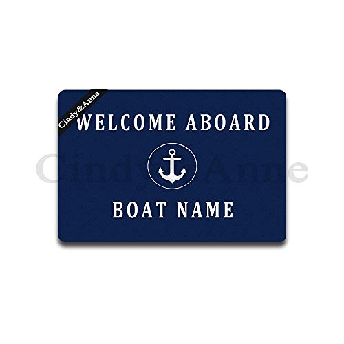 Cindy&Anne Welcome Aboard Custom Boat Name Doormat Entrance Floor Mat Funny Doormat Door Mat Decorative Indoor Outdoor Doormat 23.6 by 15.7 Inch Machine Washable Fabric - Mat Aboard Welcome