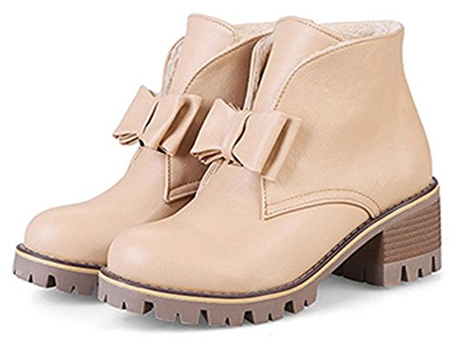 Easemax Women's Dressy Chelsea Round Toe Pull On Short Ankle High Boots With Chunky Heels apricot hD9Vl
