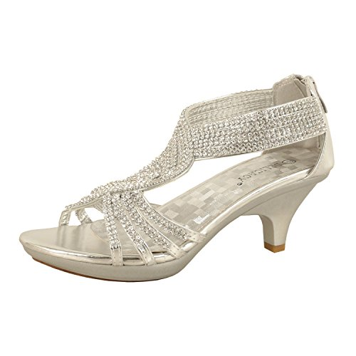 (Delicacy Womens Strappy Rhinestone Dress Sandal Low Heel Shoes Heeled Sandals, 37Silver, 10)