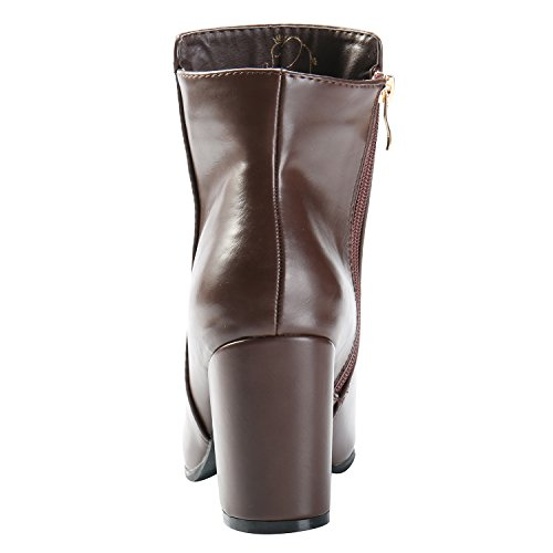 Alexis Heel Boots Coffee Women's Ankle Casual Stacked Pointed Toe Leroy Slip On frXqUwf