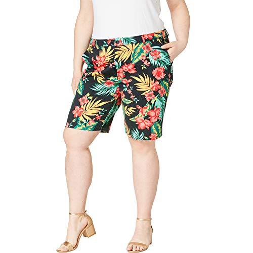 Jessica London Women's Plus Size Twill Shorts - Black Tropical Bouquet, 18 W ()