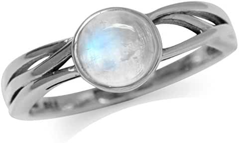Moonstone 925 Sterling Silver Solitaire Ring