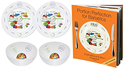"""Bariatric Portion Control 2 Melamine 8"""" Plates & Bowls + Portion Perfection for Bariatrics International Book for Healthier Diet post Sleeve Gastrectomy, Gastric Bypass, Balloon & Banding by Dietitian"""