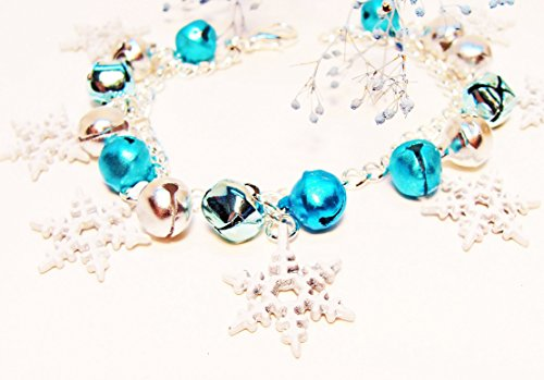 Icy Blue Jingle Bell Charm Bracelet with White Snowflakes-Christmas bracelet, jingle bell bracelet, jingle bells, handmade at amazon, gifts for her, Christmas gifts (Enameled Snowflake Charm)