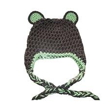 Sweet Lullabiez Handmade Brown & Sweetpea Green Bear Beanie Size 3-6 Months / Hat Cloche Gorro