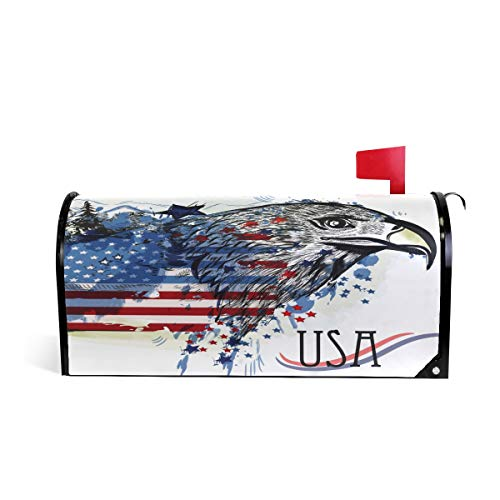 - ALAZA Eagle with American Patriotic Flag Magnetic Mailbox Cover Oversized-25.5