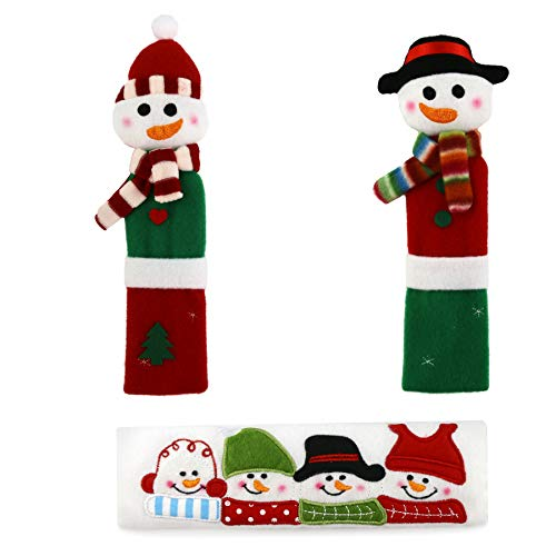 Athoinsu 3PCS Refrigerator Handle Covers Christmas Decoration Door Handle Covers Christmas Kitchen Appliance Handle Covers Snowman Door Knob Covers, 9 Inch -