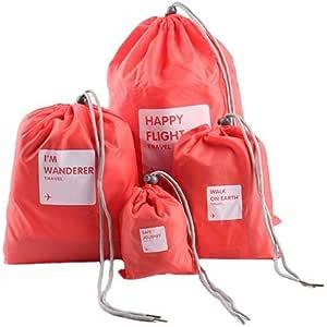 حقيبة سفر مضادة للماء مع رباط سحب لملابس الغسيل الداخلية حقيبة تخزين ماكياج (أحمر بطيخي، 4 قطع)