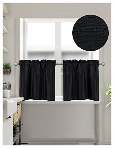 - Home Queen Faux Silk Rod Pocket Tier Curtains for Small Window, Short Room Darkening Kitchen Curtains, Café Drapes, 2 Panels, 30 W X 24 L Inch Each, Solid Black