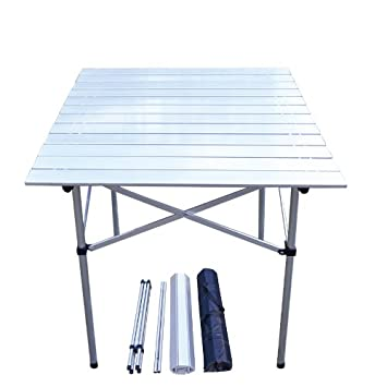 Wonderful Light Weight Aluminum Roll Up Folding Table Camping Outdoor Indoor Picnic  Table Heavy Duty