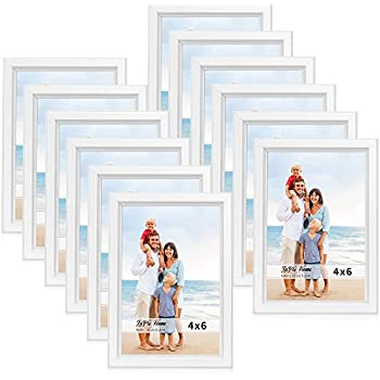 LaVie Home 4x6 Picture Frames (12 Pack, White) Simple Designed Photo Frame with High Definition Glass for Wall Mount & Table Top Display, Set of 12 Classic Collection