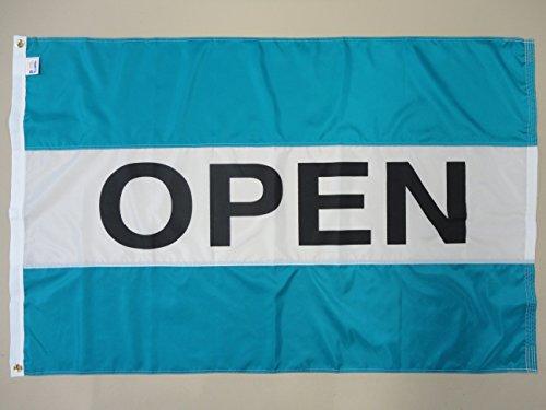 """Nylon Horizontal Message Flag, 3' x 5', """"Open"""", Turquoise an"""