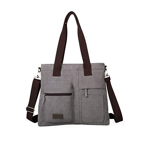 IDAILU Large Canvas Tote Bag Casual Daily Cross-body Hobo Handbags with Detachable Shoulder Strap (Gray-Small)
