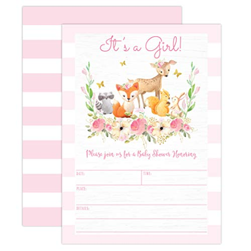 Pink Woodland Baby Shower Invitations, Forest Animal Baby Shower Invitations for Girl, with Bear, Raccoon, Deer, Baby Sprinkle, 20 Fill in Invitations and -