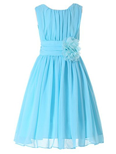 Bow Dream Little Girls Elegant Ruffle Chiffon Summer Flowers Girls Dresses Junior Bridesmaids Light Blue 10