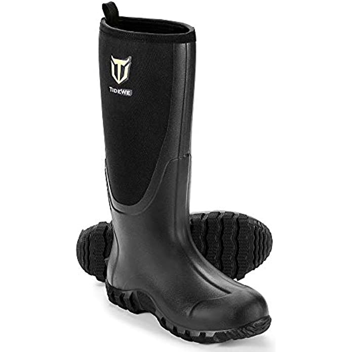 TIDEWE Rubber Boots for Men Multi-Season, Waterproof Muck Rain Boots with Steel Shank, 6mm Neoprene Durable Rubber Outdoor Hunting Boots Realtree Edge Camo (Black, Brown & Camo)