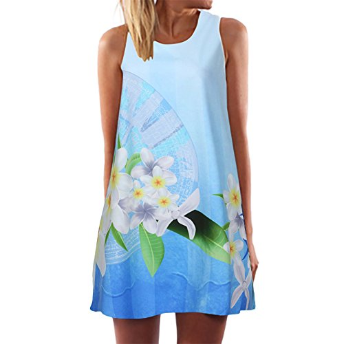 iLUGU Vintage Boho Women Summer Sleeveless Beach Printed Short Mini Dress ()