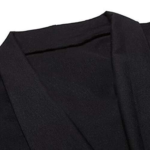 Manches Mode Taille Blouse Top Irrégulière Longues Femme Piebo Veste Haute Thermiques Chemises V Strappy Grande Robe Cardigan Long Col Solid Bandage Lâche Tunique Couleur Hiver Formelle Noir Unie luFKc1T35J