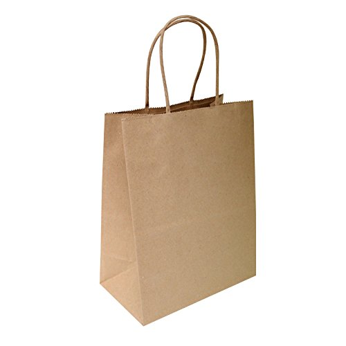 8''x4.75''x10'' 50 pcs Brown Kraft Paper Bags 95% POST CONSUMER MATERIALS & FSC CERTIFIED by Flexicore Packaging