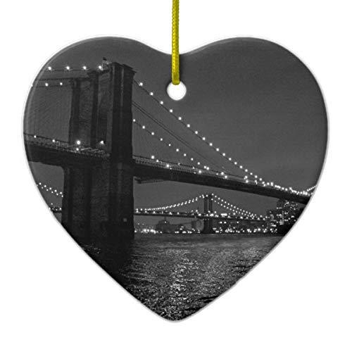 (Brooklyn Bridge at Night Ceramic Ornament)