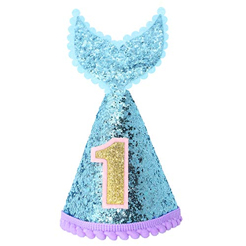 Maticr Mermaid Tail 1st Birthday Cone Hat with Adjustable Headband for Baby Girl Mermaid Party Supplies (Blue & Purple)