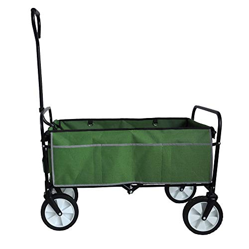 BBEN Folding Wagon Cart, Collapsible Outdoor Utility Wagon with Reflection Strip/Drink Holders and Rope,150-lbs Limit, (Standard Size 8