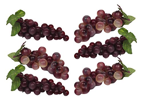 Set of 6 Red/Purple Faux Artificial Grape Bunches Each Bunch Measures 7