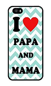 Adorable Papa And Mama I Love U Aqua Chevron - Personalized Crystal Clear Enamel Hard Back Shell Case Cover Skin for iPhone 5/5S