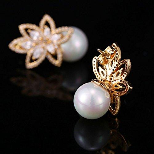 Opal Pearl Stud Earrings or Clip On Dangle Drop Earrings, Charm Jewelry Love Gift For Women Girls by SEKAYISORE (Image #4)