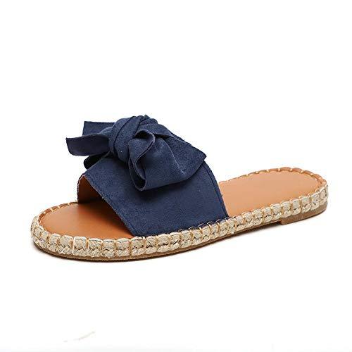 (Hurber Womens Beef Tendon Micro-Velboa Slipper Bow Ribbon Tie Knotted Soft Comfort Slip on Slide Sandal (Blue,6))
