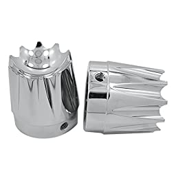 Hill Country Customs Chrome Excalibur Front Axle Nut Covers for 2008 and Newer Harley-Davidson Touring Models - HC-14-0080